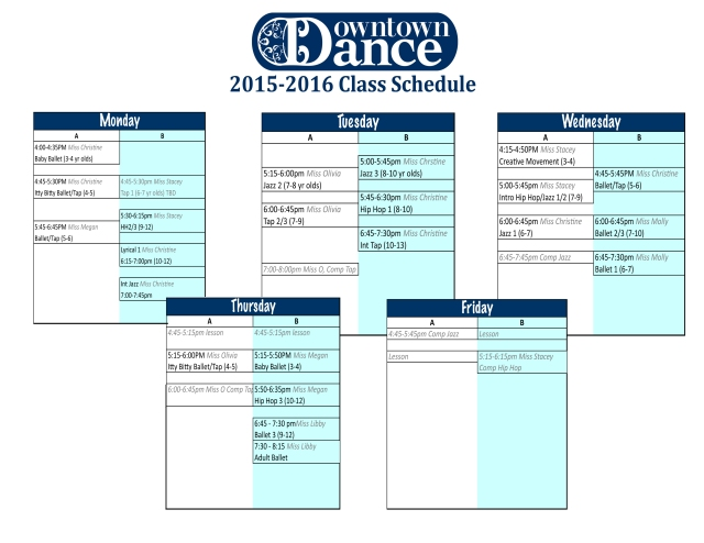 Downtown Dance Updated Schedule