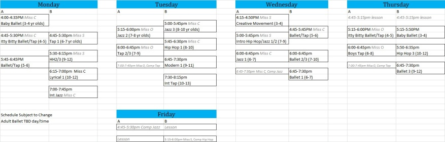 Schedule Pic for Blog